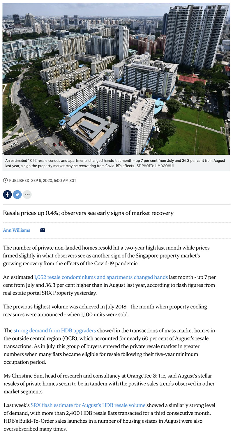 Park Nova - Private home resale volume hits 2-year high in Aug: SRX 1