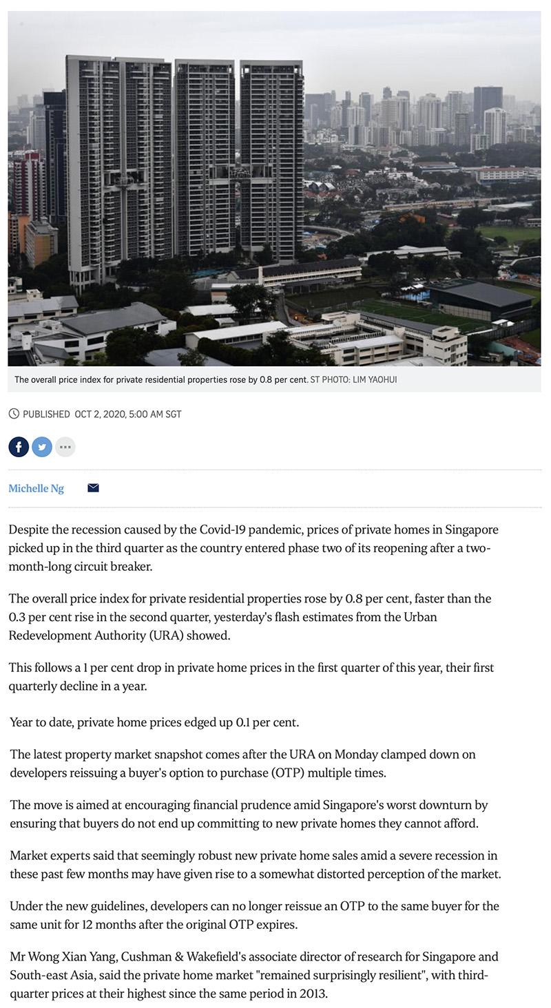 Park Nova - Private home prices rise faster in Q3 despite Covid-19 recession 1